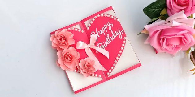 Как сделать открытку в виде сердца с цветами на день рождения своими руками