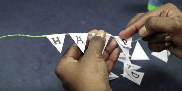 Напишите на каждом треугольнике по одной букве из фразы «С днём рождения»