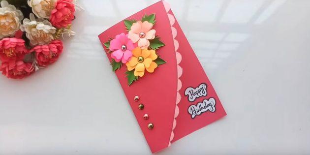 Как сделать открытки с цветами на день рождения своими руками