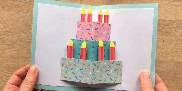 Как сделать открытки с тортом на день рождения своими руками