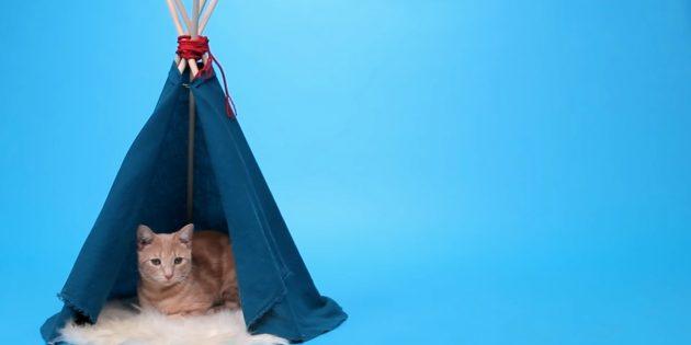 Как сделать домик-шалаш для кошки из реек и ткани своими руками