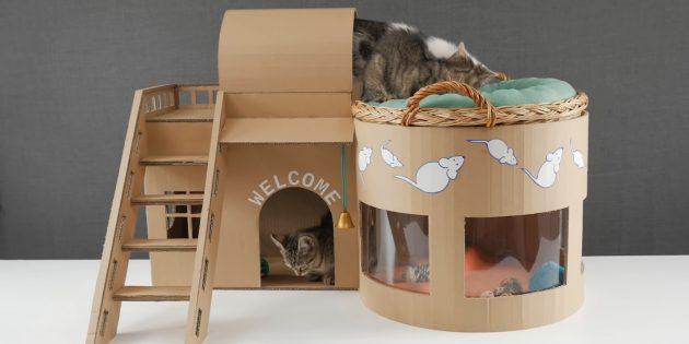 Как сделать двухэтажный домик для кошки из коробок своими руками