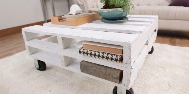 Как сделать журнальный столик из деревянных поддонов своими руками