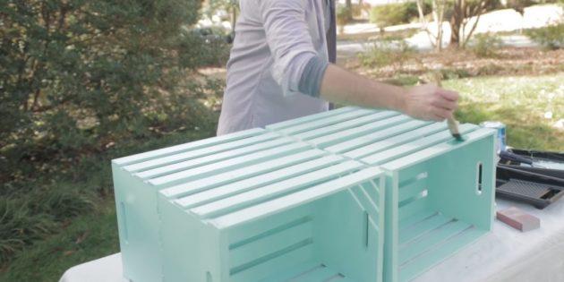журнальный столик своими руками: зашлифуйте и покрасьте ящики