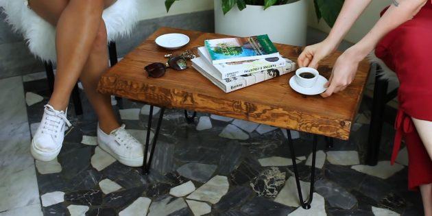 Как сделать журнальный столик из досок своими руками
