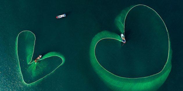 аэрофотоснимки рыболовных сетей