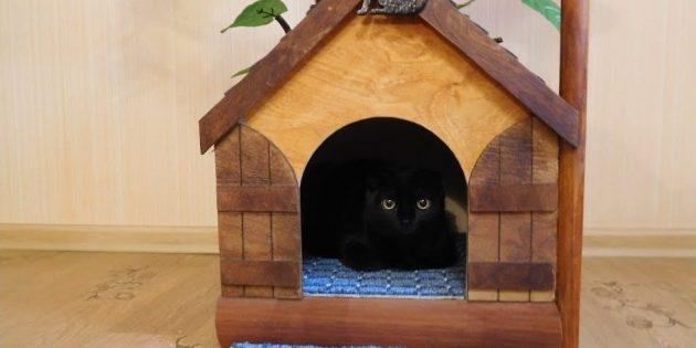 Как сделать домик для кошки из дерева своими руками
