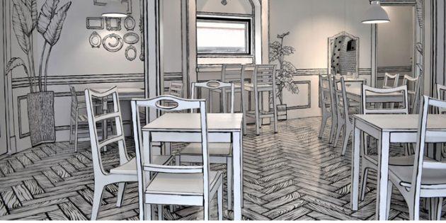 интерьер кафе в нарисованном стиле