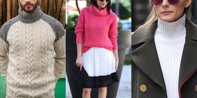Свободный модный свитер в рубчик или «косы» с высоким горлом — 2019