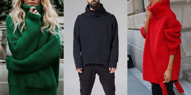 Свободный модный свитер с высоким горлом