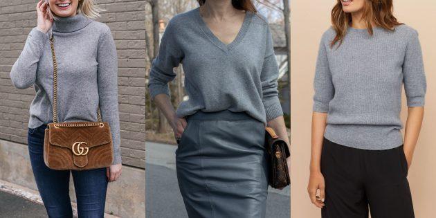 Классический серый кашемировый свитер