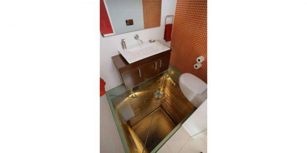 прозрачный пол в туалете