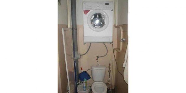как разместить стиральную машину над унитазом
