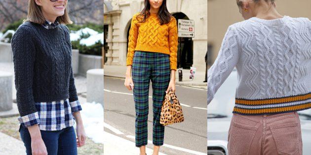 Укороченный рельефный модный свитер или кардиган — 2019