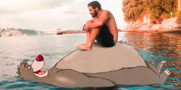 Диснеевский персонаж Балу в воде