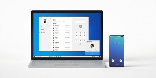 Через приложение «Ваш телефон» для Windows 10 теперь можно звонить и принимать вызовы