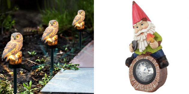 Декоративные фигурки или фонари для сада