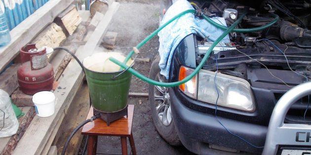как промыть радиатор печки: запустите насос