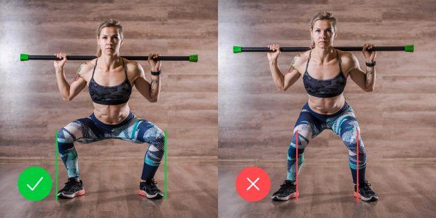 Упражнения для коленей: как держать колени при приседании со штангой