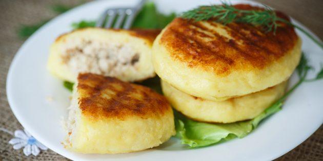 Картофельные зразы с сыром и мясом