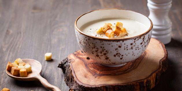 Как приготовить крем-суп из цветной капусты и шампиньонов со сливочным соусом бешамель