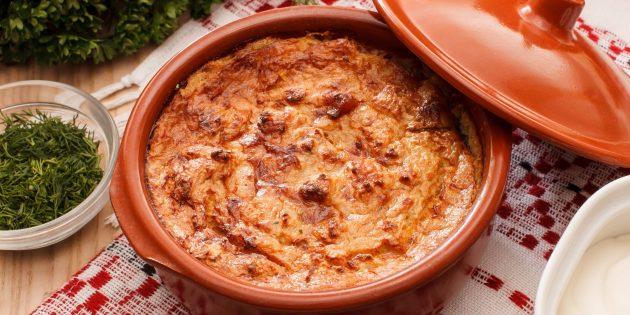 Свинина с картошкой и сыром в горшочках в духовке