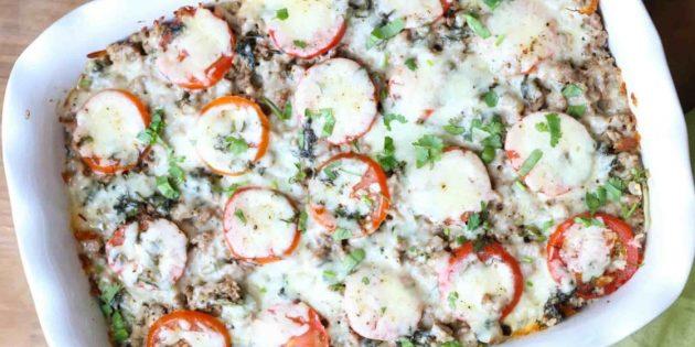 Свинина с картошкой, помидорами и сыром в духовке