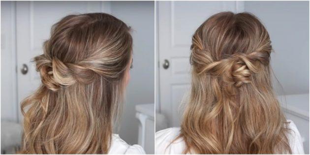 Причёски на длинные волосы: распущенные волосы с перекрученными прядками и маленьким пучком