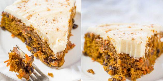Морковно-тыквенный пирог с изюмом и сливочным кремом