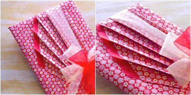 Как сделать упаковку с драпировкой для прямоугольного подарк