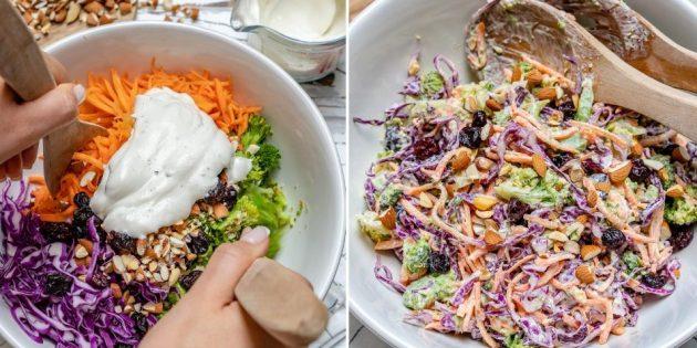 Рецепт салата с брокколи, миндалём, клюквой и йогуртово-лимонной заправкой