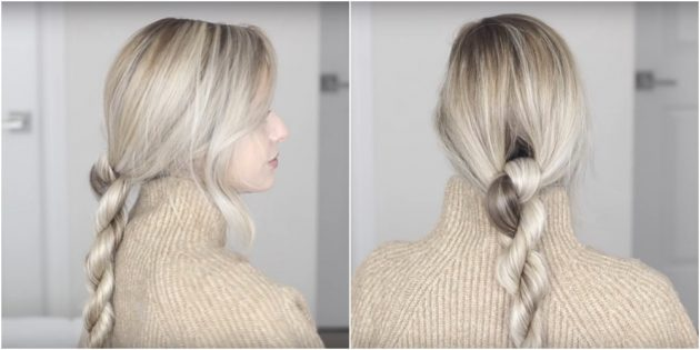 Причёски на длинные волосы: низкий перекрученный хвост