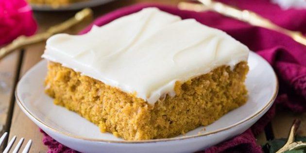 Тыквенный пирог с творожно-сливочным кремом