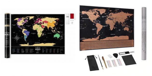 Настенная карта, где можно отмечать посещённые страны и места