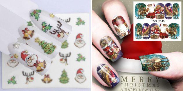 Товары с AliExpress для создания новогоднего настроения: Наклейки на ногти, новогодний дизайн ногтей