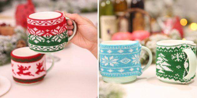 товары с aliexpress, которые помогут создать новогоднее настроение: Свитер-грелка для кружки
