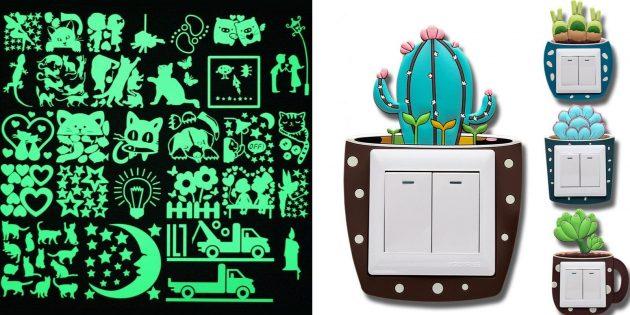 Что подарить маме на день рождения:: светящиеся в темноте наклейки на выключатели