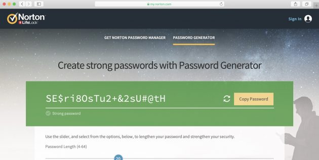 Генератор паролей Norton Password Manager