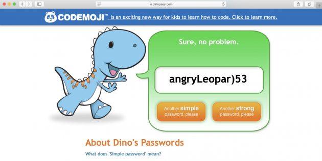 Генератор паролей Dinopass