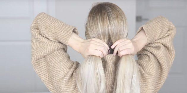 Разделите волосы пополам