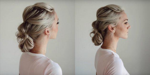 Объёмная причёска на длинные волосы с низким пучком