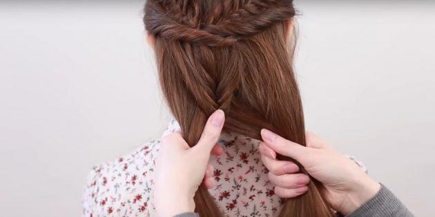 Причёски на длинные волосы: добавьте в косу остальные волосы