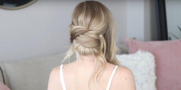 Закрепите левую часть волос