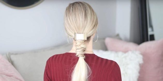 Причёски на длинные волосы: низкий хвост с узелками