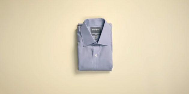 Как сложить рубашку рукавами наверх
