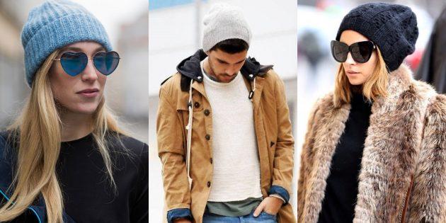 Модная вязаная шапка-бини: осень-2019