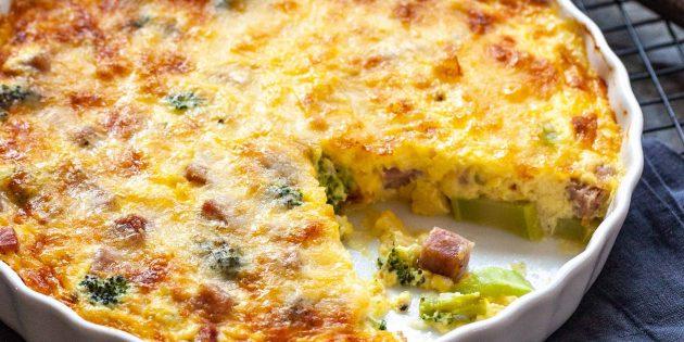 Рецепт запеканки с брокколи, ветчиной и сыром