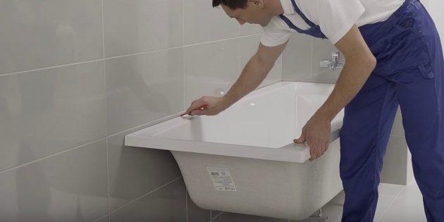 Установка ванны своими руками: Примерьте и выставьте ванну