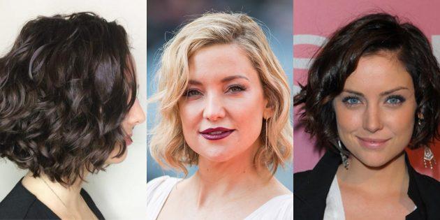 женские короткие стрижки 2020: волнистый боб с косым пробором