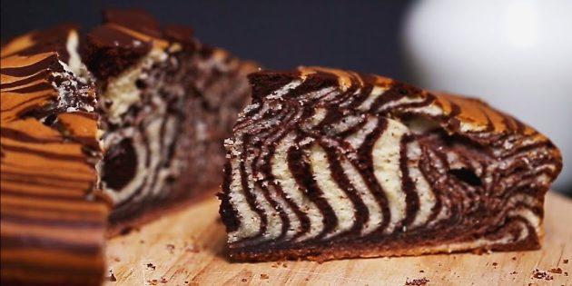 Пирог «Зебра» на молоке и сливочном масле